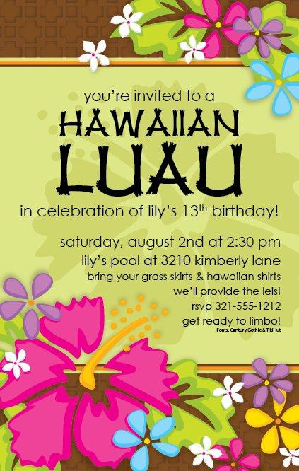 Hawaiian Luau Invitation Templates Free