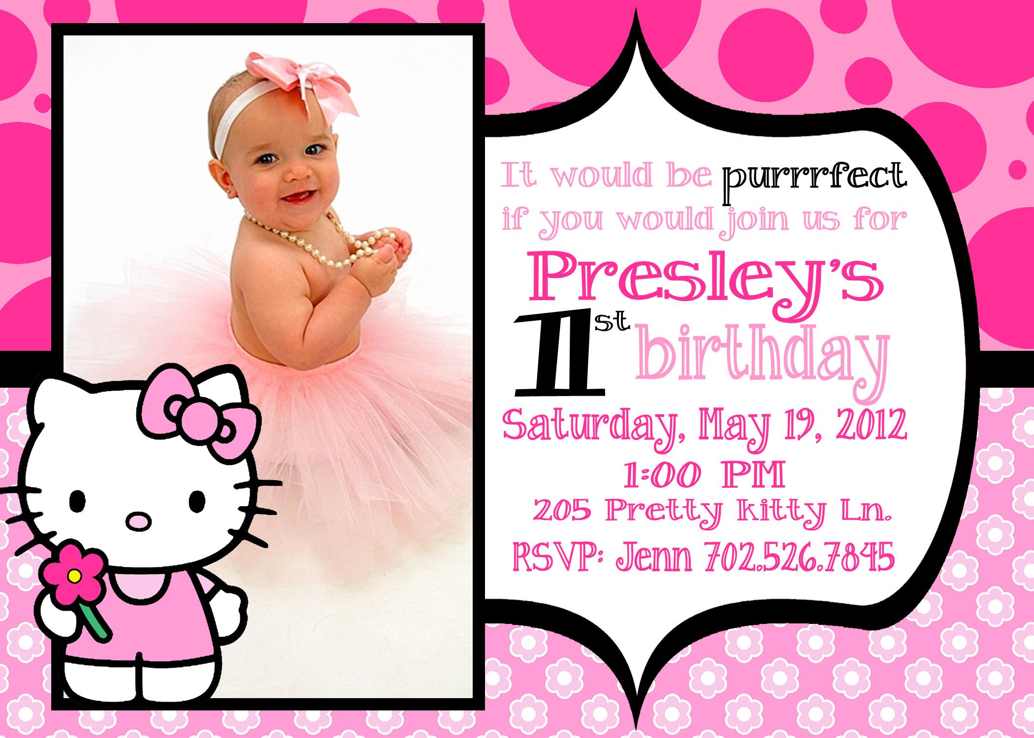 Kitty 1st Birthday Invitations