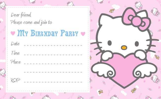 Hello Kitty Blank Invitation Card