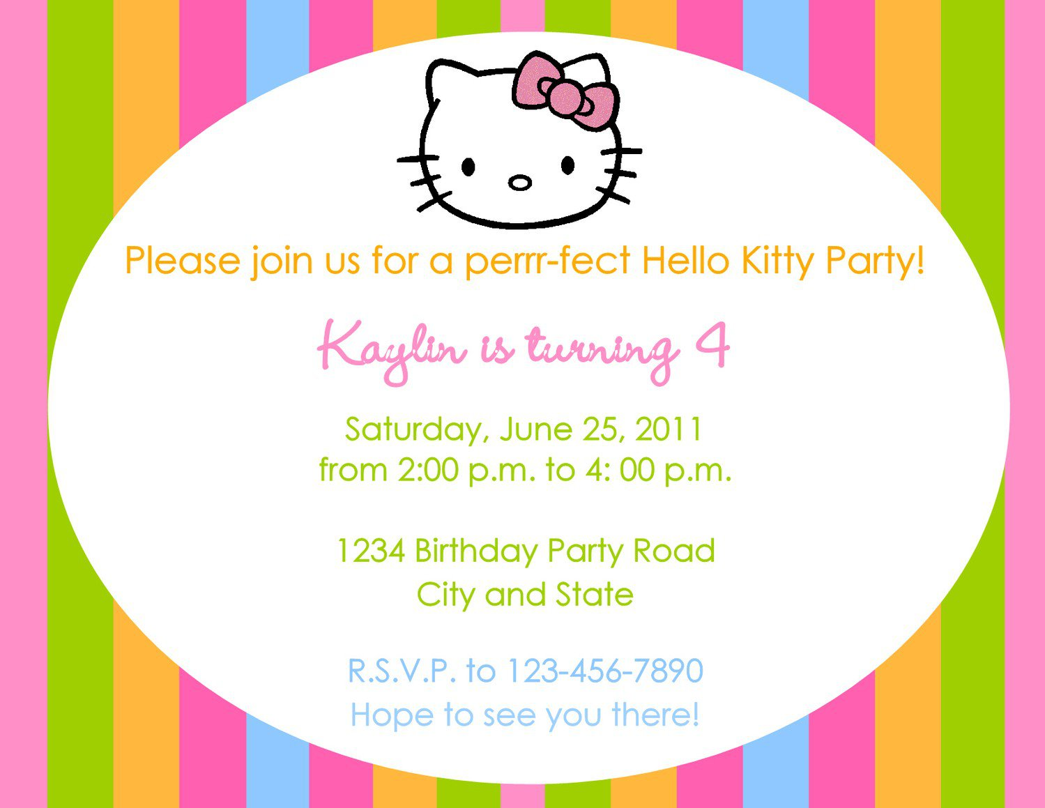 Hello Kitty Printable Invitation Templates