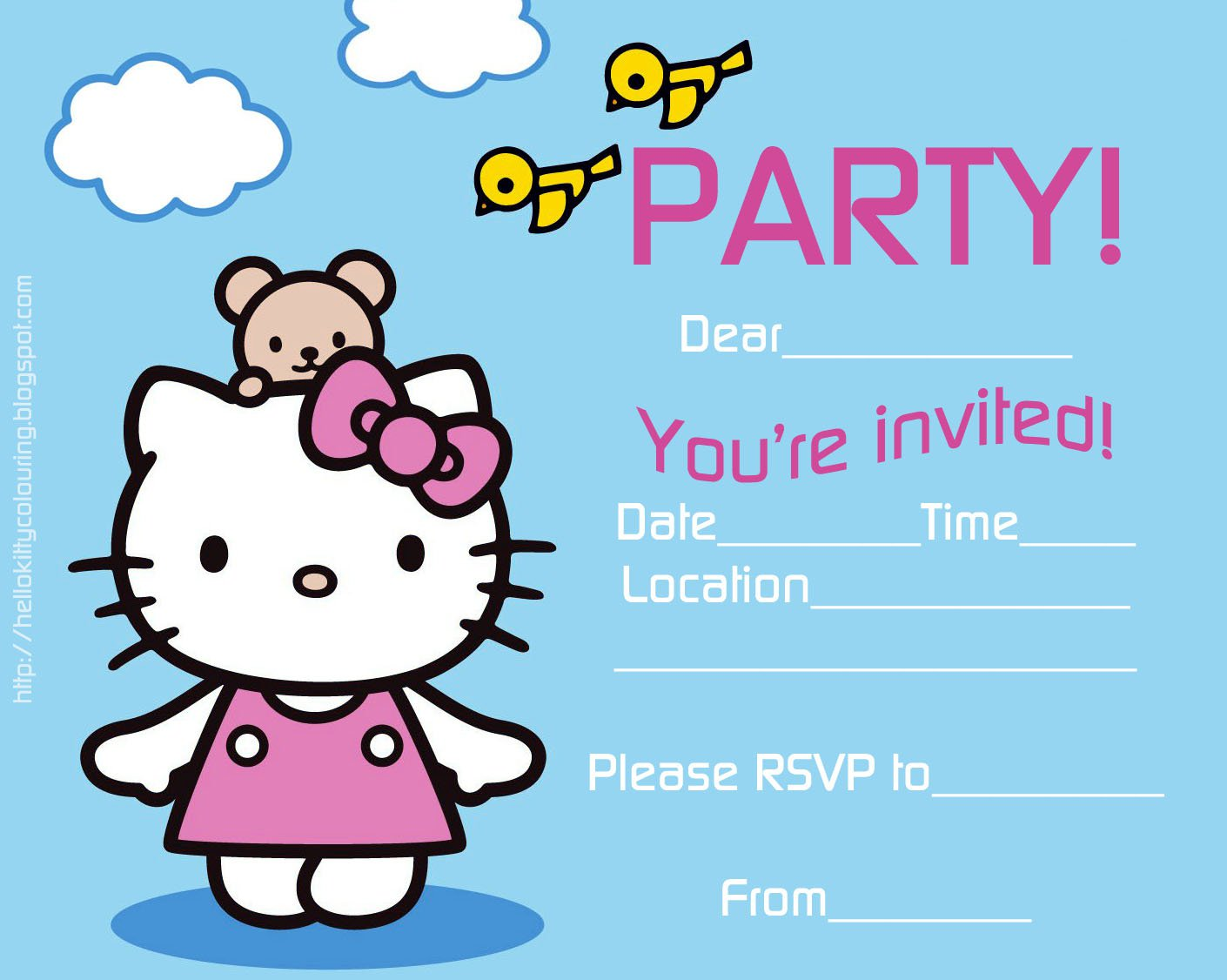 hello kitty sleepover invitations 1410 x 1126