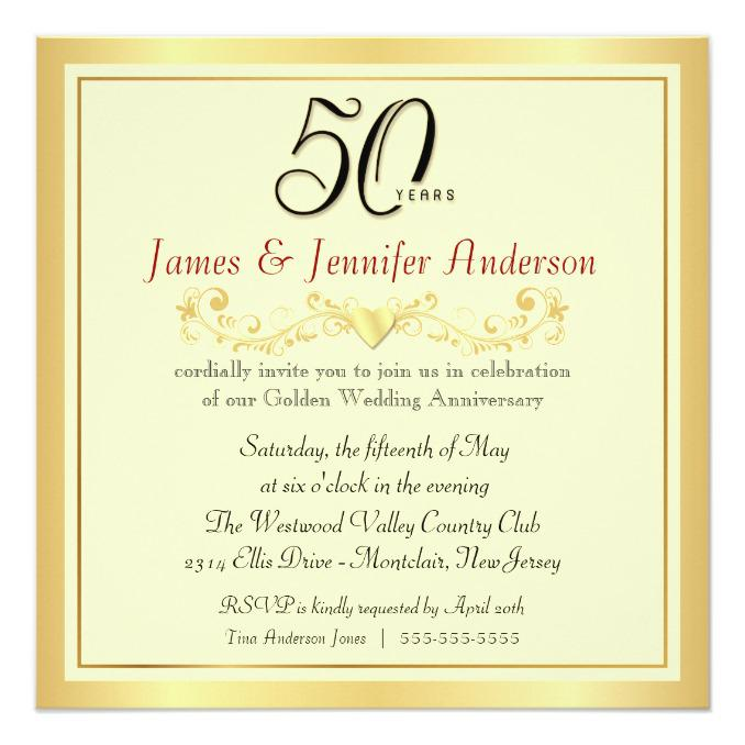 50th Wedding Anniversary Invitation Ideas: Homemade 50th Anniversary Invitations