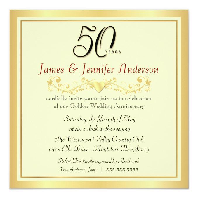 Homemade 50th Wedding Anniversary Invitations