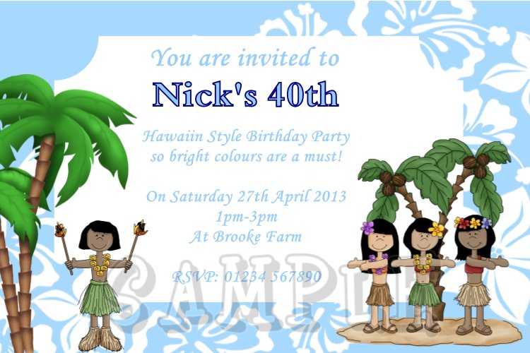 Homemade Hawaiian Party Invitations