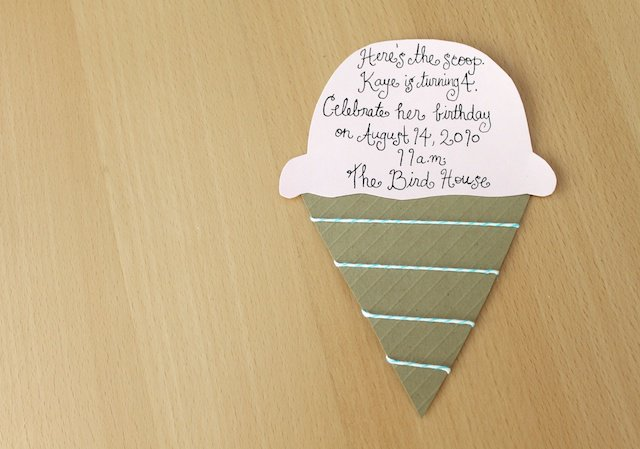 Homemade Ice Cream Birthday Invitations