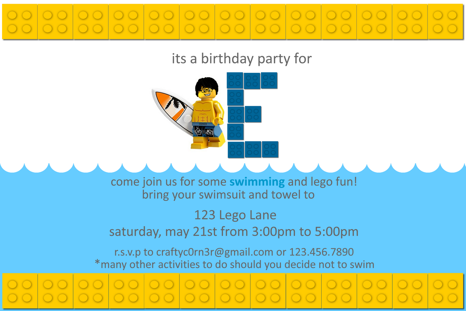 Homemade Lego Party Invitations