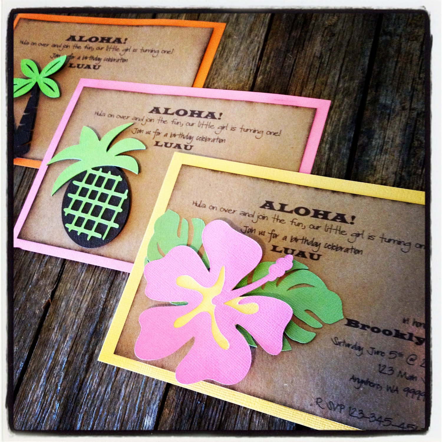 Homemade Luau Birthday Party Invitations