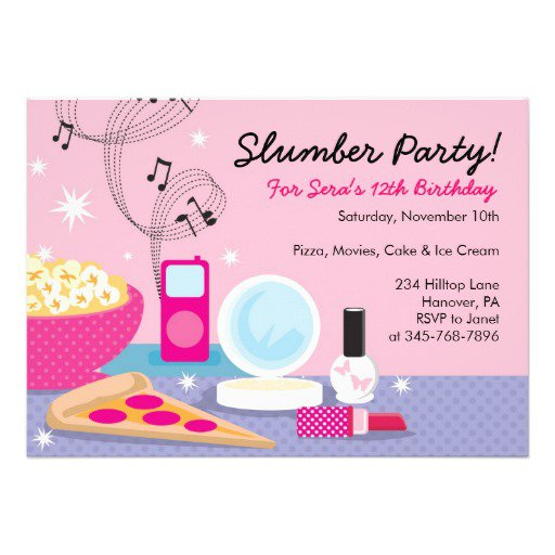 Homemade Sleepover Birthday Invitations