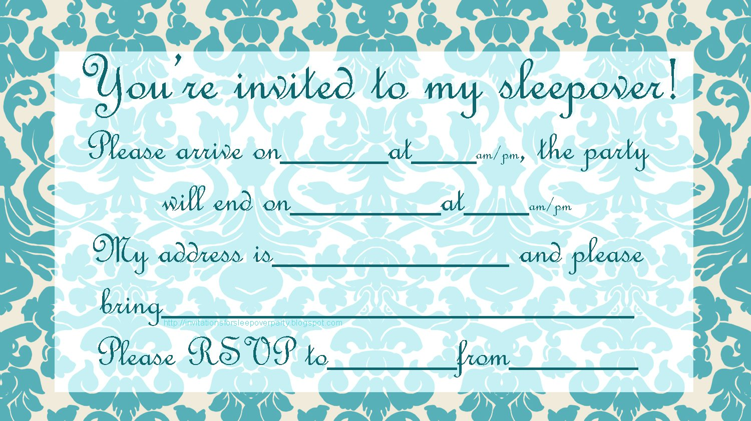 Homemade Sleepover Invitations