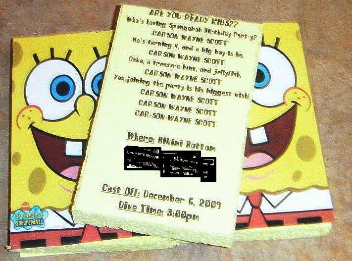 Homemade Spongebob Party Invitations