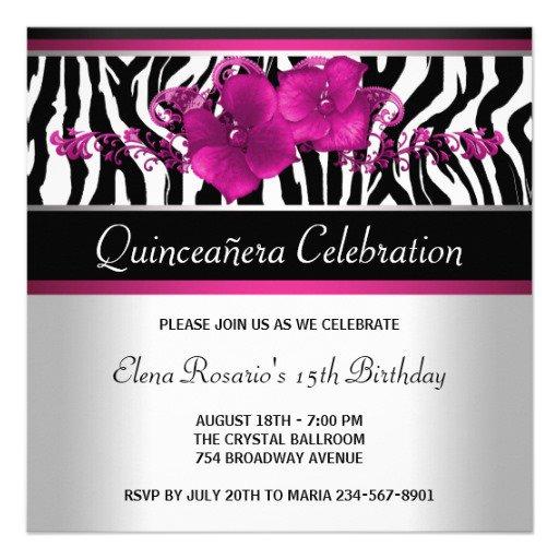 Hot Pink Quinceanera Invitations