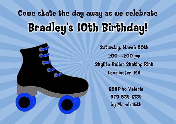 Ice Skating Birthday Party Invitations Boy