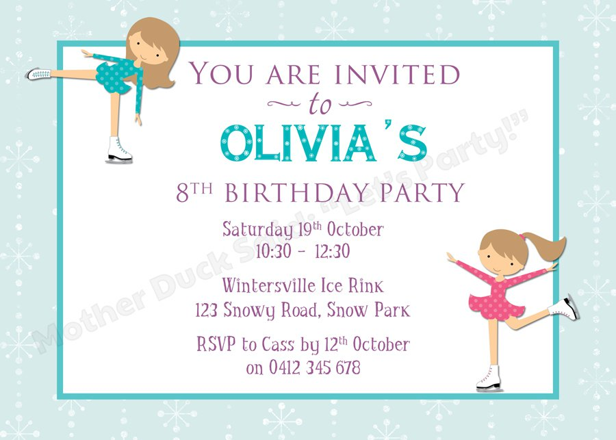 Ice Skating Birthday Party Invitations Printable For Free