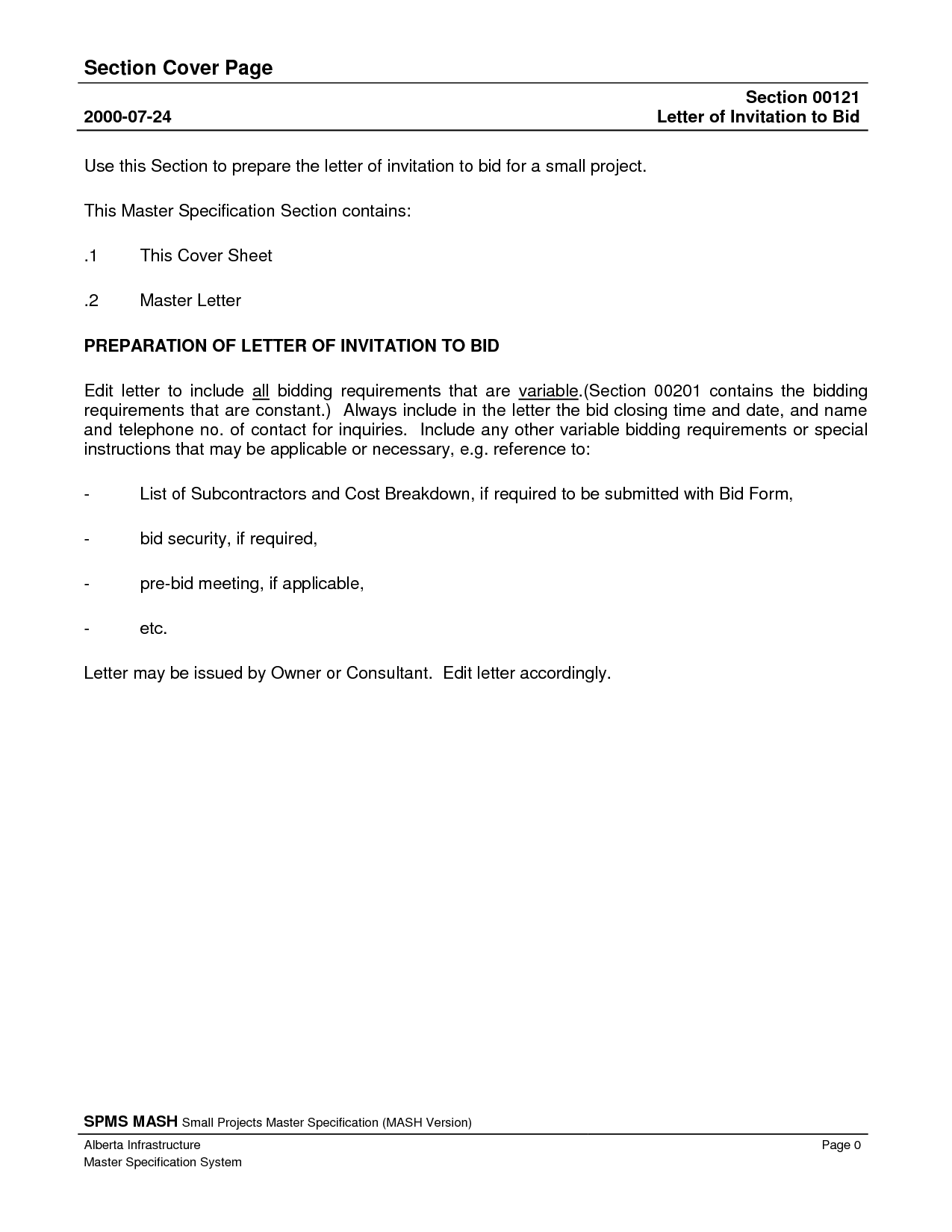 Invitation To Bid Sample Letter