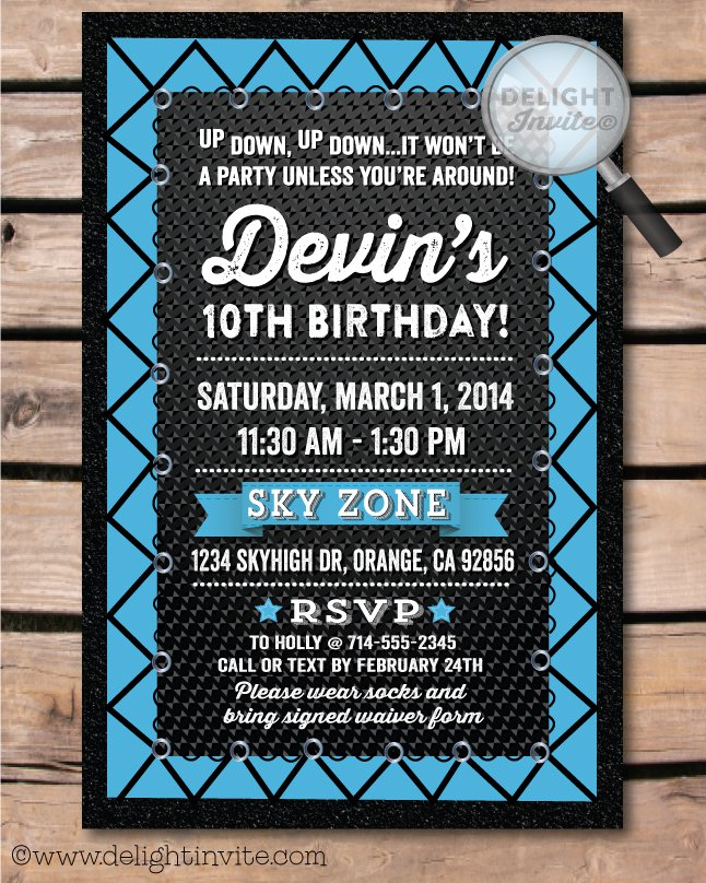 Jumping Boys Birthday Party Invitations