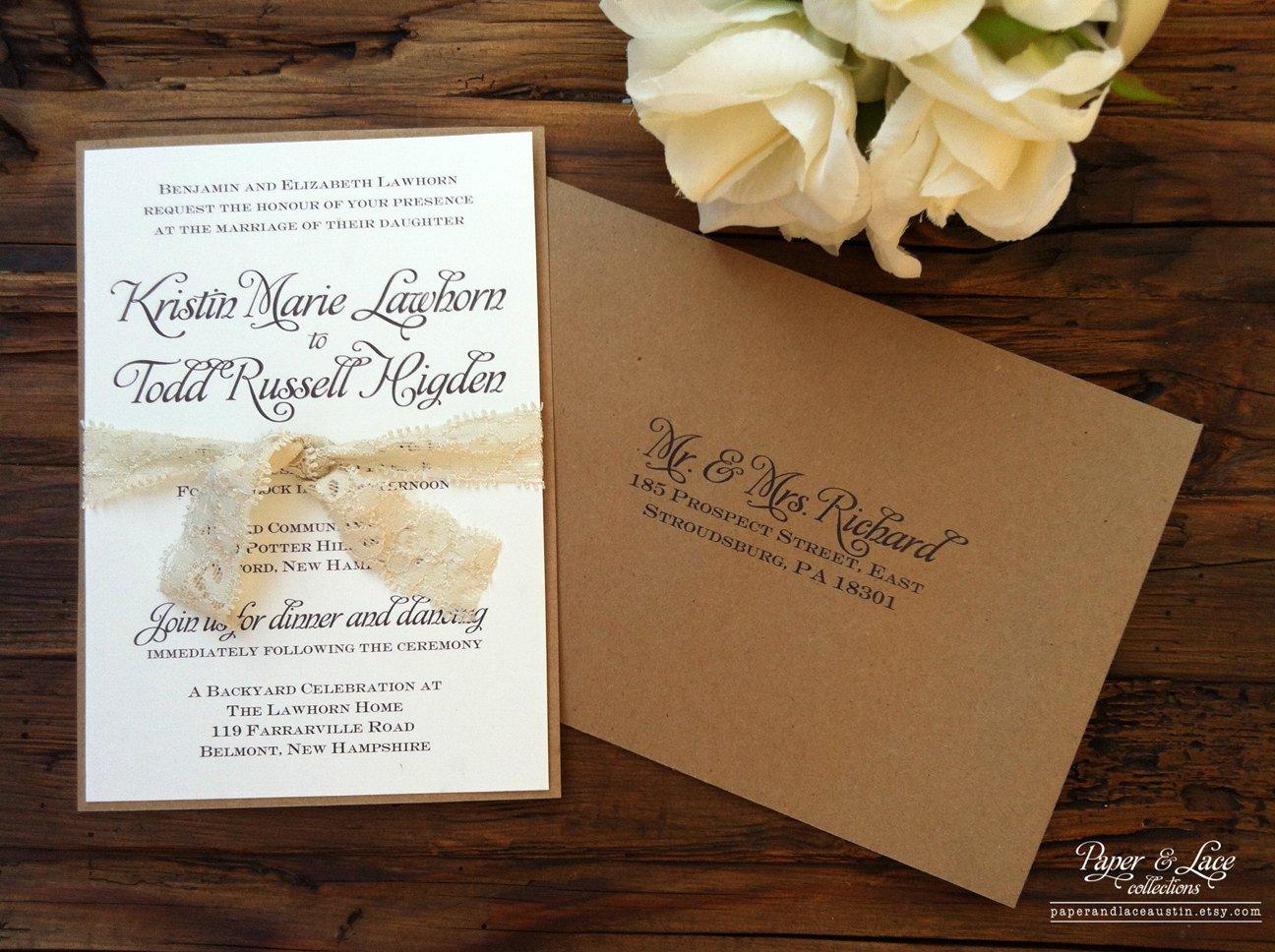 Kraft Paper Wedding Invitations Etsy