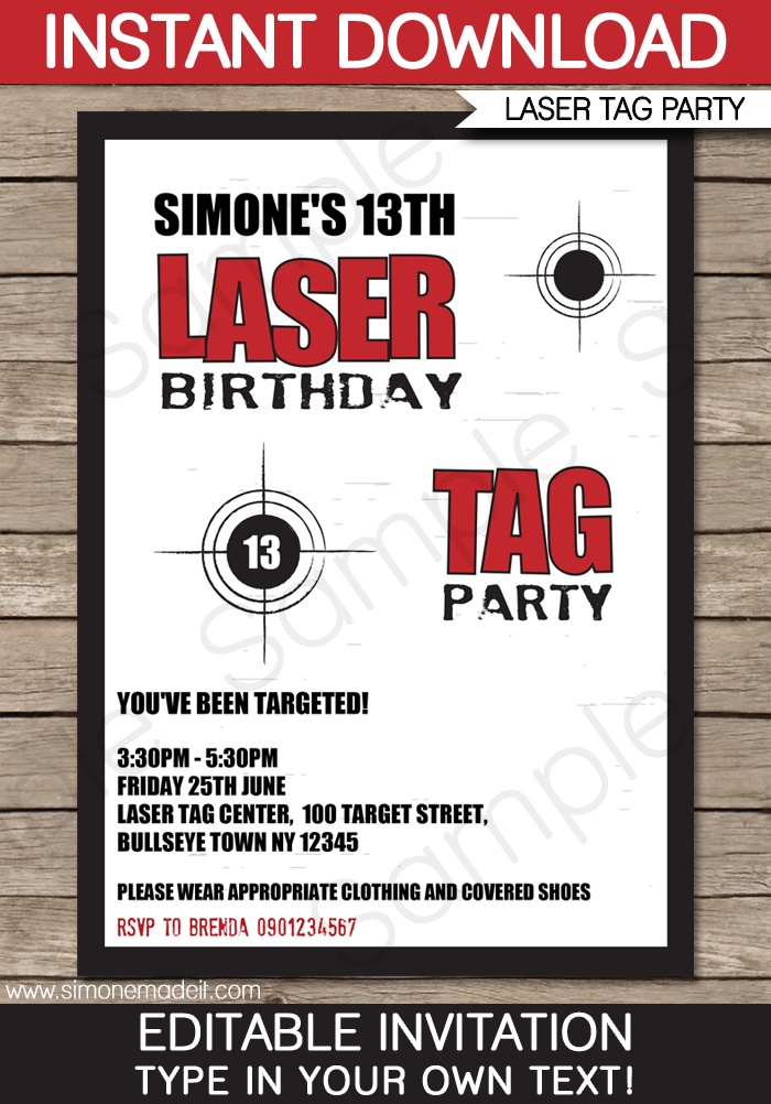 Laser Tag Birthday Party Invitation Templates