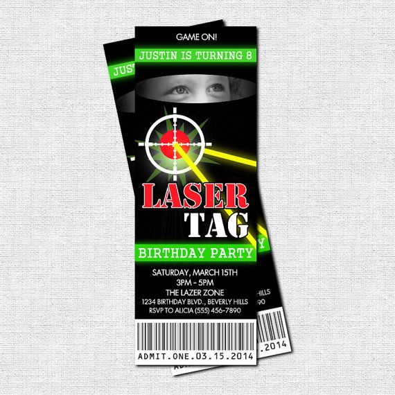 Tag Party Invitations Printable – Laser Tag Party Invitation