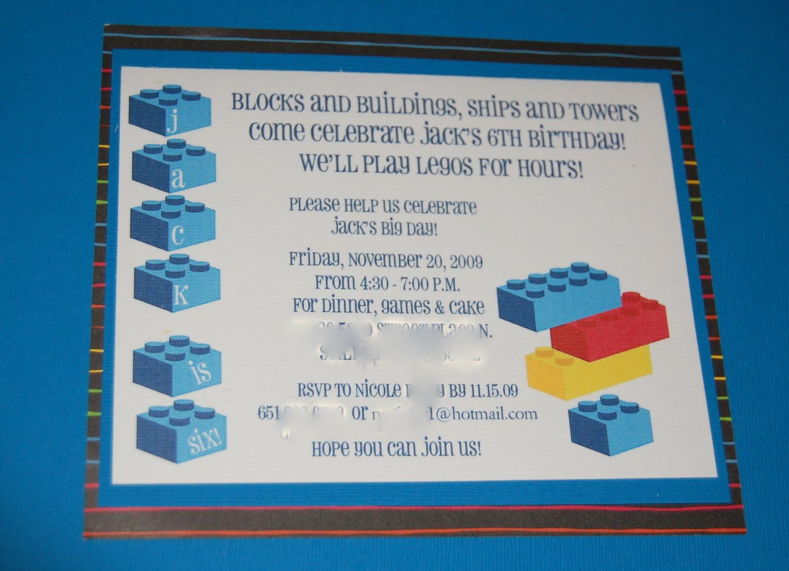 Lego Birthday Party Invitations Online