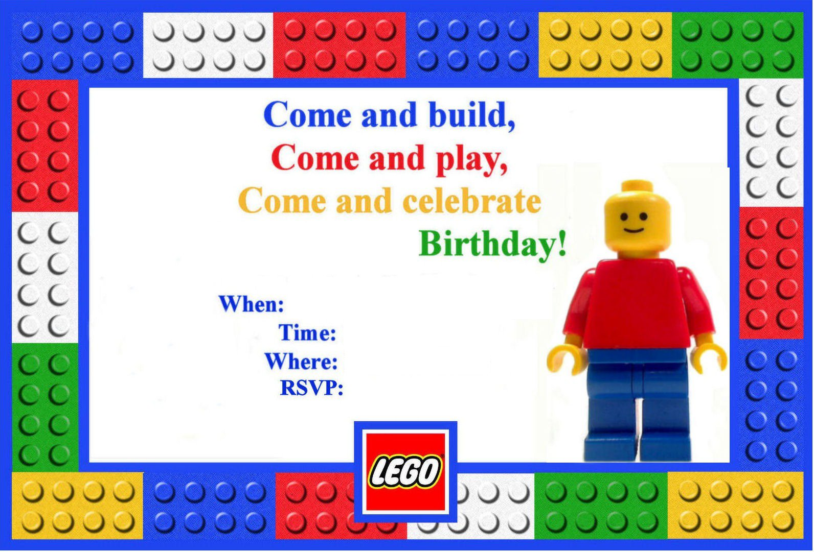 Lego Birthday Party Invitations Template