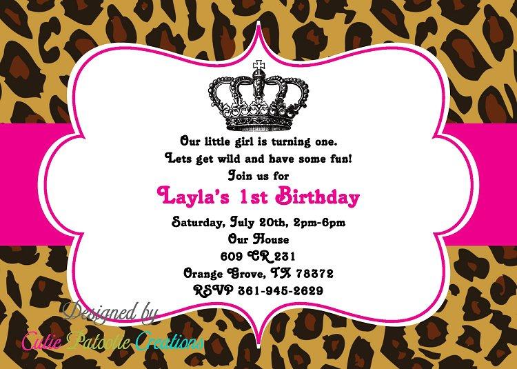 Leopard Princess 1st Birthday Invitations