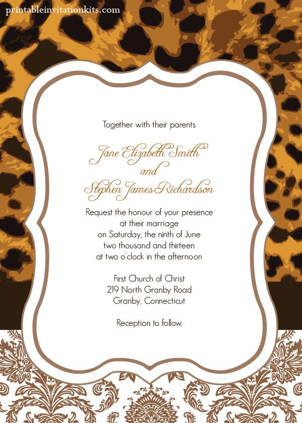 Leopard Print Invitations Printable