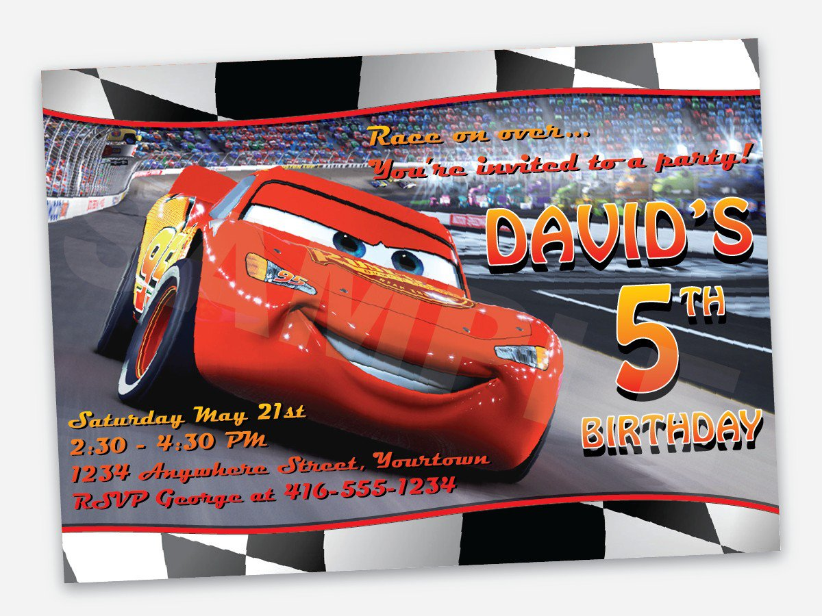 Lightning Mcqueen Birthday Party Invitation Template