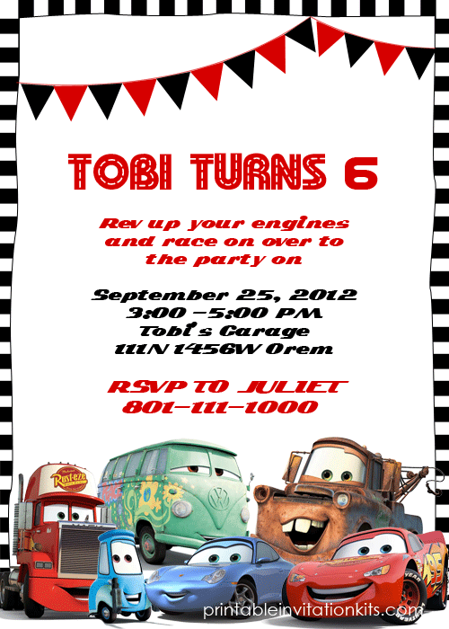 Lightning Mcqueen Party Invitation Template