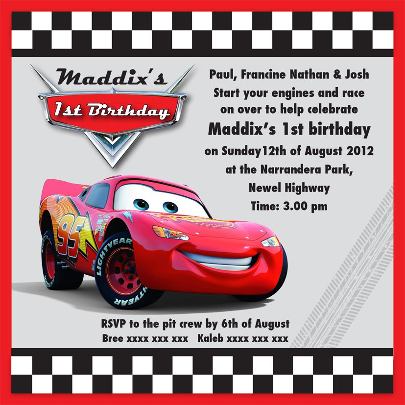 Lightning Mcqueen Party Invitation Templates