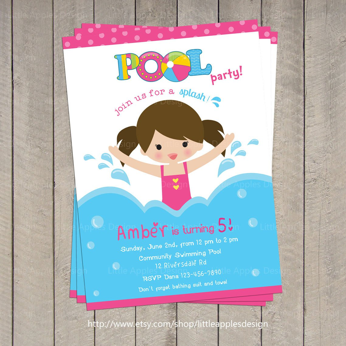 Little Girl Pool Party Invitations