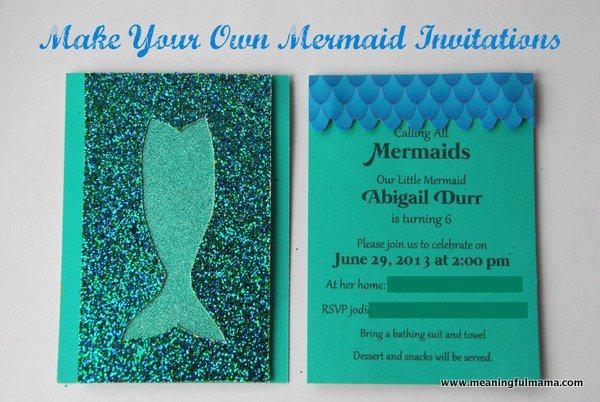 Little Mermaid Birthday Invitations Diy