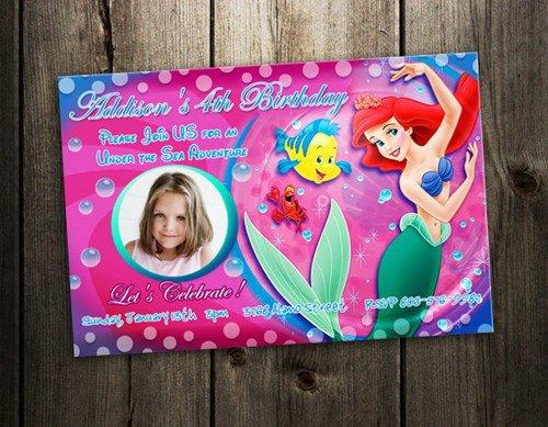 Little Mermaid First Birthday Invitations