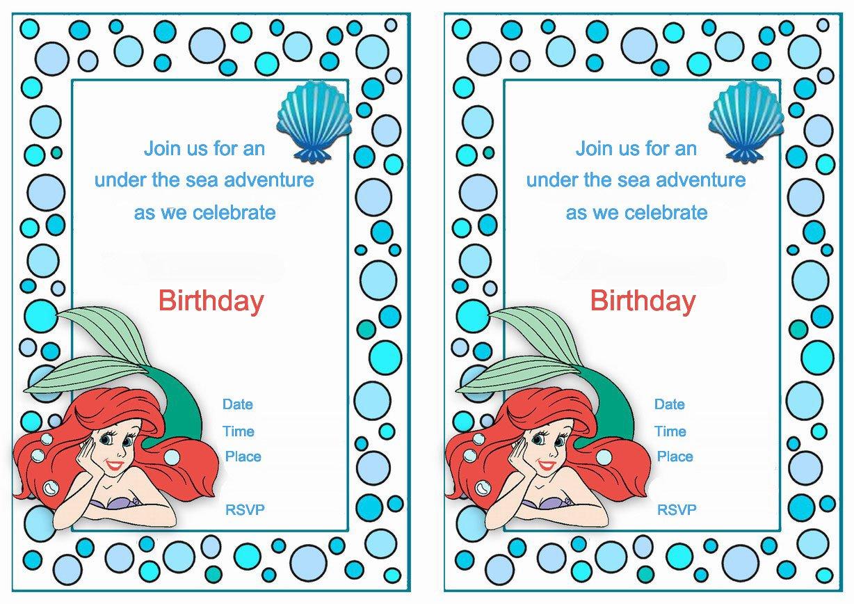 Little Mermaid Printable Birthday Invitations