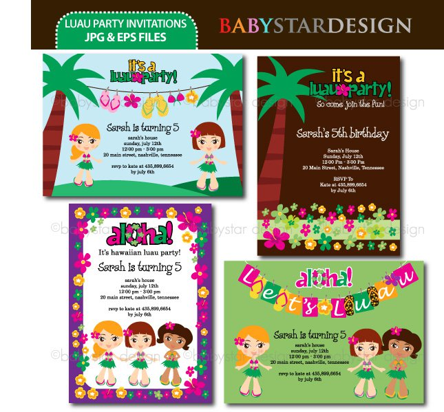 Luau Party Invitation Templates