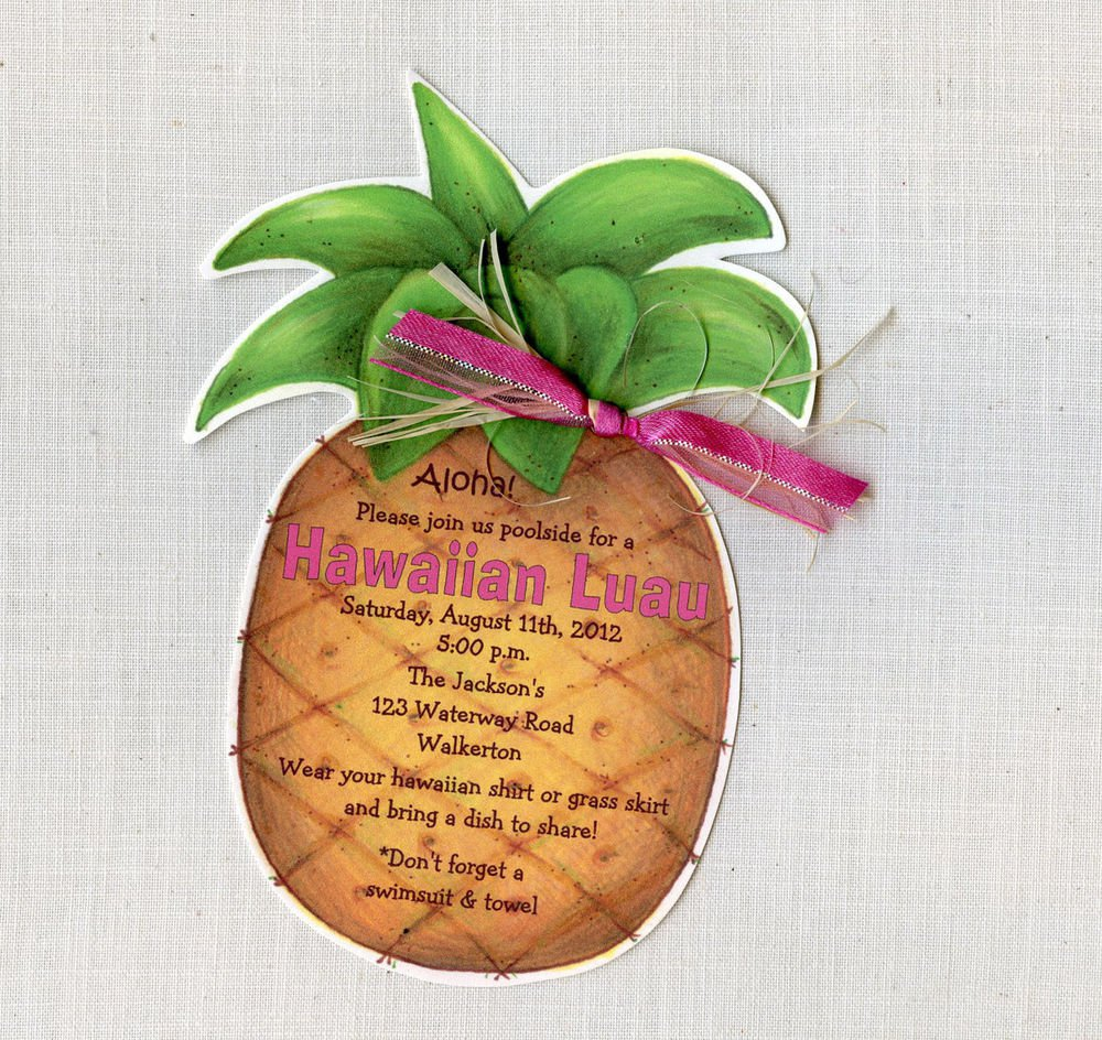 Luau Party Pineapple Invitations