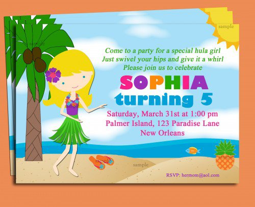 Luau Pool Party Invitation Wording