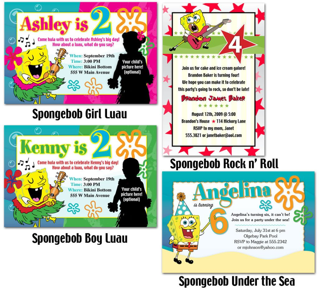 Make Your Own Spongebob Birthday Invitations