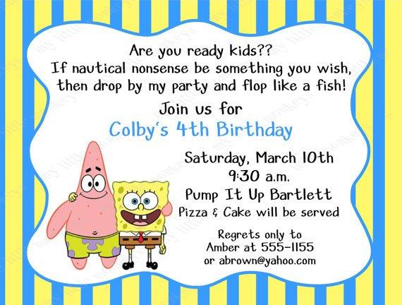 Make Your Own Spongebob Invitations