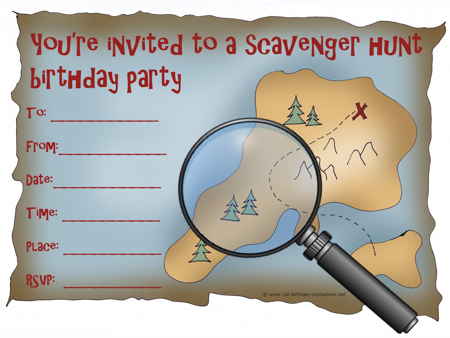 Map Scavenger Hunt Printable Invitations