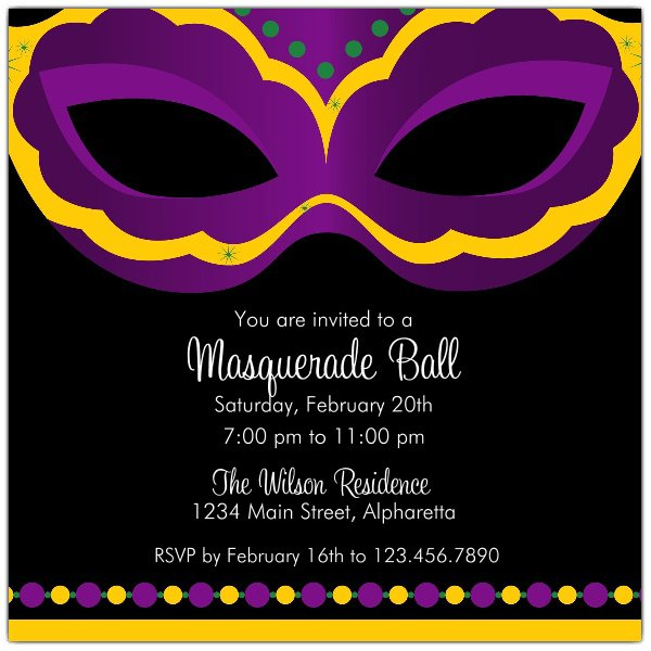 Mardi Gras Mask Invitations