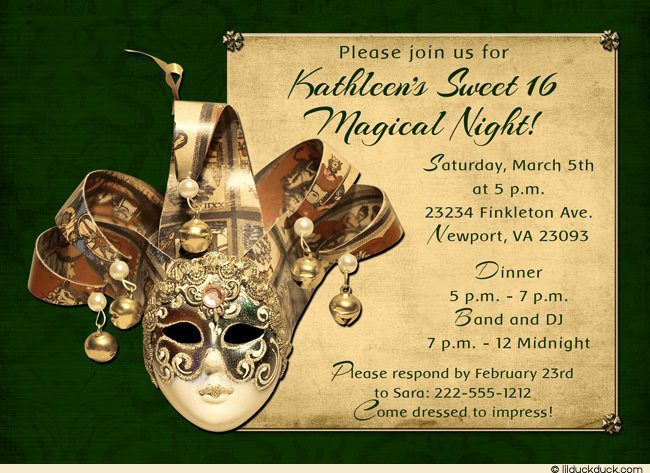 Mardi Gras Masquerade Invitation Wording
