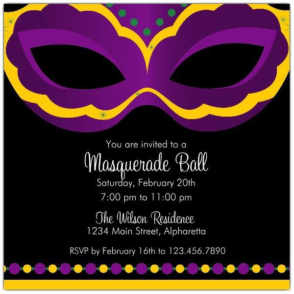 Mardi Gras Masquerade Invitations