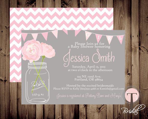 Mason Jar Baby Invitations
