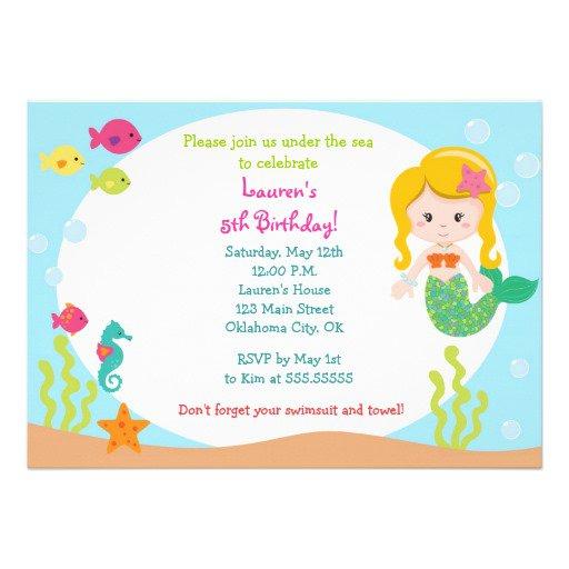 Mermaid Party Invitation Card