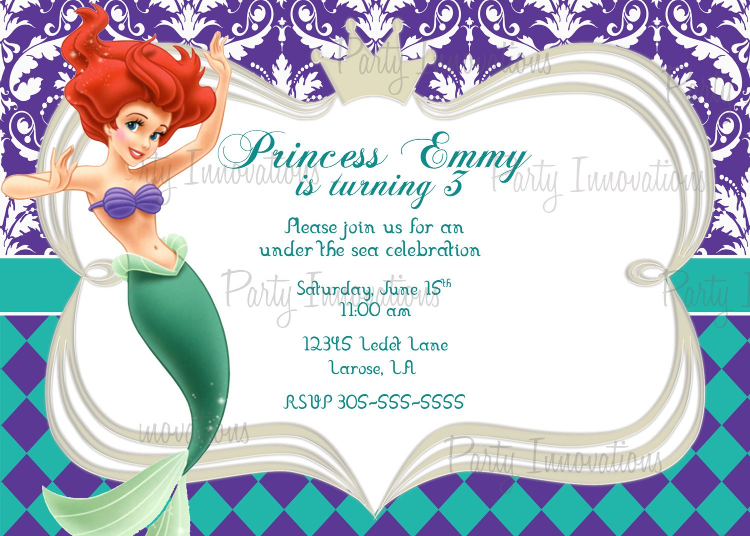 Mermaid Party Invitation Templates