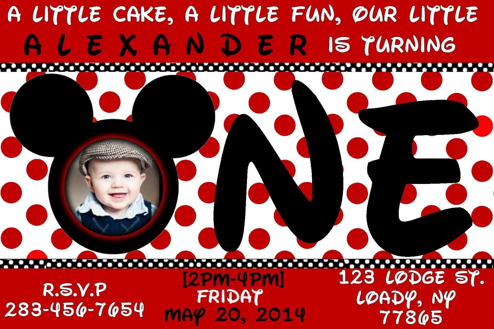 1st Birthday Custom Invitation – Mickey Mouse Custom Birthday Invitations