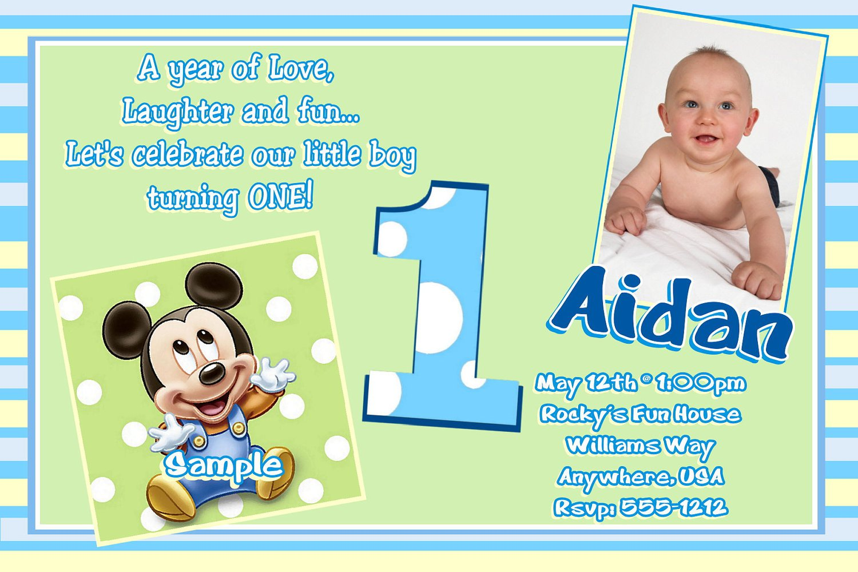 Mickey First Birthday Invitation Wording
