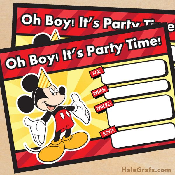 Mickey Mouse Birthday Invitations Free Download