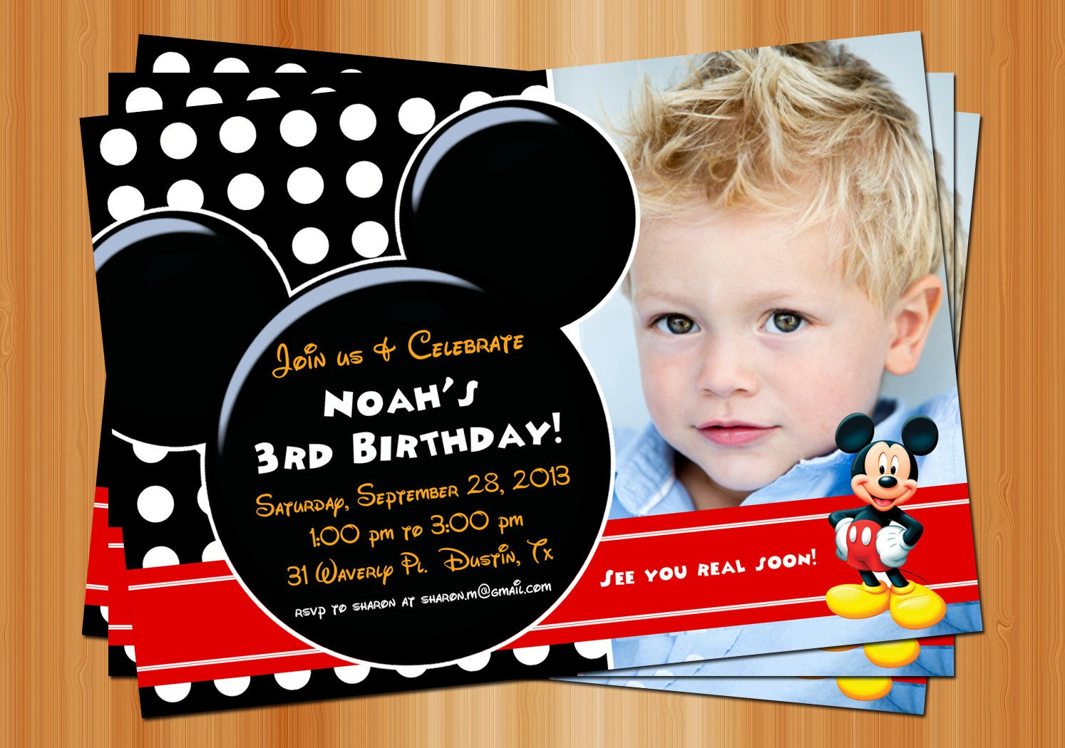 Mickey Mouse Birthday Party Invitations Free