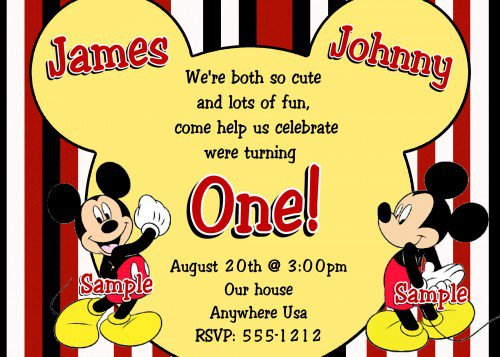 Mickey Mouse Clubhouse Twin Birthday Invitations
